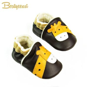 Winter Genuine Leather Baby Moccasins Giraffe Pattern Warm Toddler Boy Shoes Dark Brown