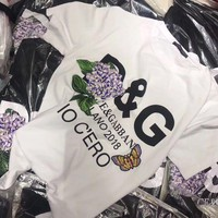 ONETOW Dolce & Gabbana' Women All-match Casual Flower Embroidery Letter Print Short Sleeve Round Neck T-shirt Top Tee