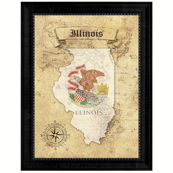 Illinois State Vintage Map Gifts Home Decor Wall Art Office Decoration