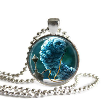 Alice In Wonderland Blue Caterpillar Hookah Necklace