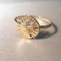 Sand dollar Beach Ring-Layering Ring Above the Knuckle Ring Midi Ring Gold Brass Stacking Ring