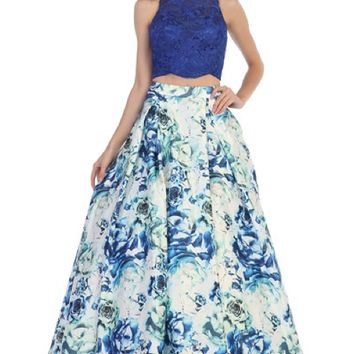 Two Piece Dress with Floral Print Skirt