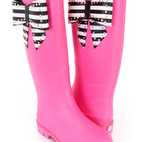 Fuchsia Large Studded Bow Tie Rain Boots Rubber