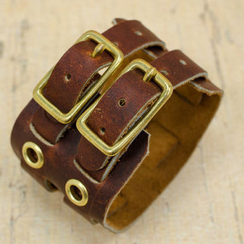 Rustic brown leather wrist band for men with double buckle and grommet detail - adjustable men's bracelet