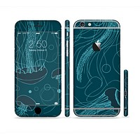 The Dark Vector Teal Jelly Fish Sectioned Skin Series for the Apple iPhone 6/6s Plus
