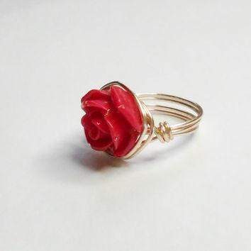 Dark Pink Flower Rose Gold Handmade Wire Wrapped Ring Sizes 1-14