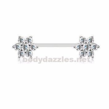 Pair of CZ Flowers on Both Ends 316L Surgical Steel Barbell Nipple Rings