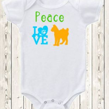 Peace love cats Onesuit ® brand bodysuit or shirt baby cat clothes cat lover baby gift kitten  pawprint baby shirt unique baby gift