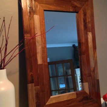 Reclaimed, black walnut, mosaic/marquetry mirror.