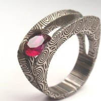 Damascus and Ruby Setting  New Ring Design by jewelrybyjohan