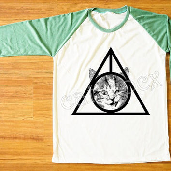Cat Deathly Hallows T-Shirt Cat Shirt Animal Shirt Raglan Tee Green Sleeve Shirt Women Tee Shirt Men Shirt Unisex Shirt Baseball Shirt S,M,L