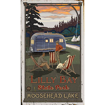 Personalized Lily Bay State Park Moosehead Lake Wood Sign