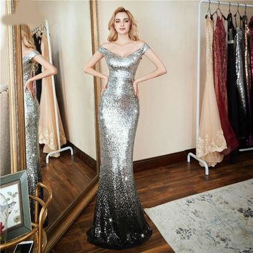 New Formal party  Elegant Evening Dress Sexy Luxury Silver Long Sequin robe longue prom gowns