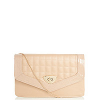 Nude Quilted Panel Clutch Bag