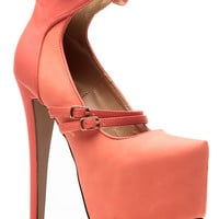 Glaze Coral Modern Mary Jane Pumps
