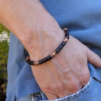 Black Rosewwood and Copper Bracelet, Stack Bracelet, Yoga Bracelet, Boho Bracelet, Men's Bracelet, Women's Bracelet, ColeTaylorDesigns