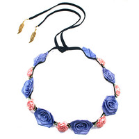 Pink Marigold and Periwinkle Rose/Blue Suede Band | VidaKush
