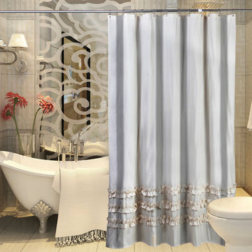 Customized Exported stripe Polyester shower curtain Ruffle lace shower curtain waterproof thickening lace bath curtain