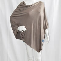 Taupe Nursing Poncho/ Lightweight Nursing Cover/ Nursing Shawl/ Infinity Scarf/ One shoulder Top/ Boho Poncho Top