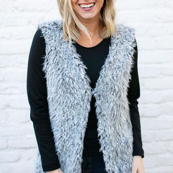 Icy Faux Fur Grey Vest