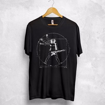 Guitar T Shirt Top Leonardo Da Vincis Vitruvian Man Metal Rock Music Band Gift Print T-Shirt Men Summer Style