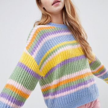 ASOS DESIGN cropped sweater in stripe at asos.com
