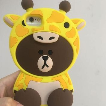 Cute Bear make up Giraffe mobile phone case for iPhone X 7 7plus 8 8plus iPhone6 6s plus -171122