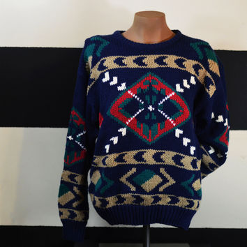 90's Vintage Sweater Navy Unique Pattern/ Country Suburbans