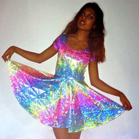 DEVOWEVO Rainbow Warrior Skater Dress