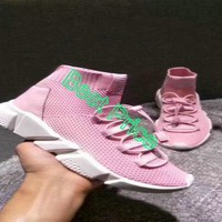 2018 Discount Balenciaga Speed Sport Fashion Trainer With Woven Uppers Pink shoe