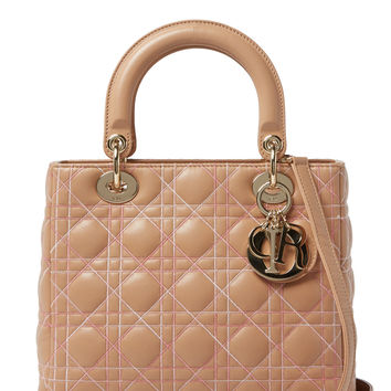 Christian Dior Women's Pink Cannage Quilted Lambskin Lady Dior Medium