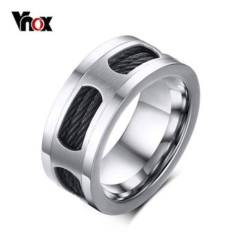 Vnox 10mm Stainless Steel Men's Cable Wire Inlaid Ring High Quality Party Male Jewelry