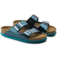 Birkenstock Beach Slippers Arizona Soft Footbed Leather Metallic Green Sandals