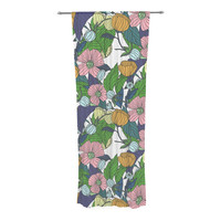 """Catherine Holcombe """"Spring Foliage"""" Floral Pastels Decorative Sheer Curtain"""