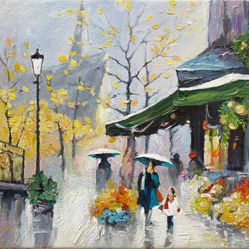 Paris Oil Painting TEXTURED Original Brushwork Paris Street Scene Miniature Wall Art