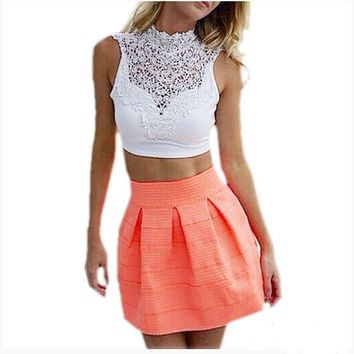 EAS 2016 Summer Women Sexy Lace Floral Crop Top Short Tee Bustier Vest Cut Out Bra Cami Tank Tops OM