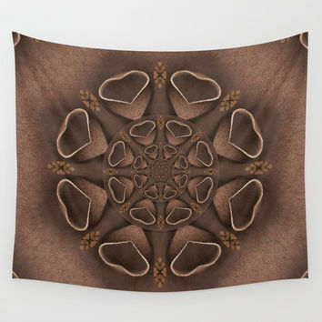 leather fantasy flower in mandala style Wall Tapestry by Pepita Selles