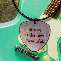 """Custom guitar pick necklace - large - """"Classy Pick"""" brand - guitar quotes gifts for boyfriend, son, dad"""
