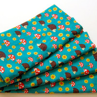 Cloth Napkins - Sets of 4 - Teal Green Hedgehogs
