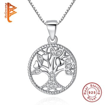BELAWANG 925 Sterling Silver Link Chain Necklaces Tree of Life Pendant Necklcae For Women Men Luxury S925 Silver Jewelry Gift