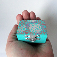Miniature Floral Jewelry Box , Wood Pill Box , Girls Jewelry Box , Wooden Jewelry Box , Jewelry Holder