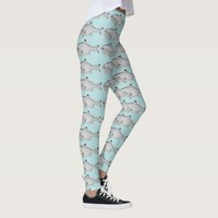 Strange vintage fish drawing leggings