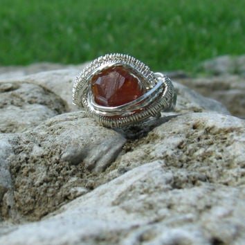 Wire Wrap Ring Orange Spessartine Garnet 925 Sterling Silver Size 4 WWR105