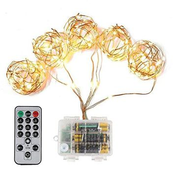 8ft Dimmable LEDs Copper Wire Starry String Light IP65 9 Flash Modes 10 Brightness Levels with Remote Control for Outdoor and Indoor Deco (warm white)