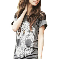 Women's Skull Head Lace Patchwork T-shirt Top Tee