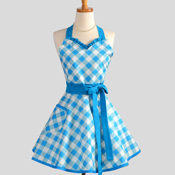 Sweetheart Retro Apron / Womens Cute Handmade Kitchen Full Retro Apron in Turquoise Blue Gingham