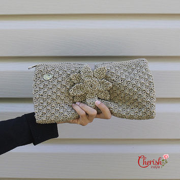 Jagge Diana Hand-clutch/Evening purse/clutch/crochet purseMedium/light beige/crochet purse/gifts for her/bag