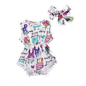 Sweet Infant Baby Girl Romper Headband Painting Tassel Jumpsuit +Headband Outfit Sun suit