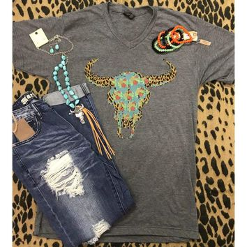 Grey Floral & Leopard Bull skull Graphic Tee