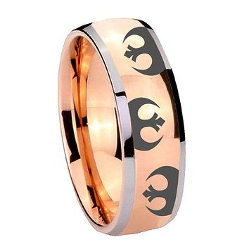 8MM Rose Gold Dome Star Wars Rebel Alliance 2 Tone Tungsten Carbide Laser Engraved Ring
